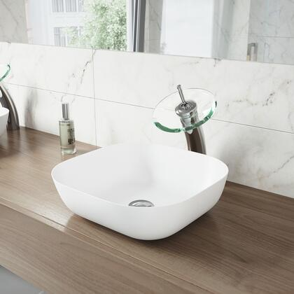 VGT1298 Camellia Matte Stone Vessel Bathroom Sink with Waterfall Faucet in a Chrome Finish  Pop-Up Drain