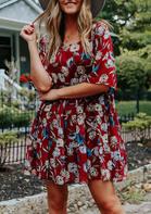 Floral Ruffled Babydoll Loose Mini Dress - Red