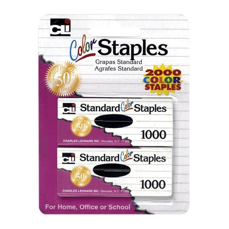 Standard Staples in Assorted Colors, 1000 Per Pack, 12 Packs