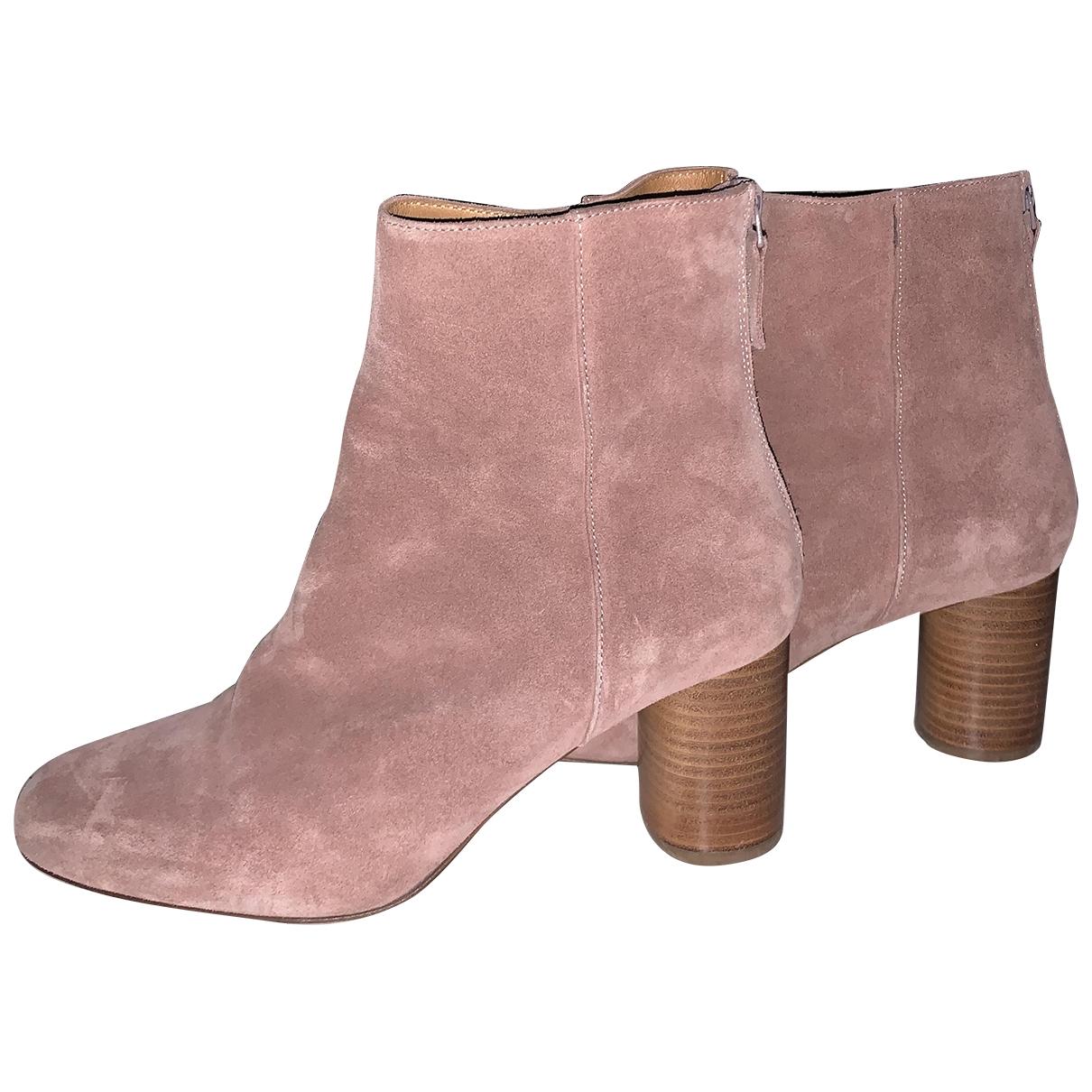 Sandro - Boots   pour femme en suede - rose