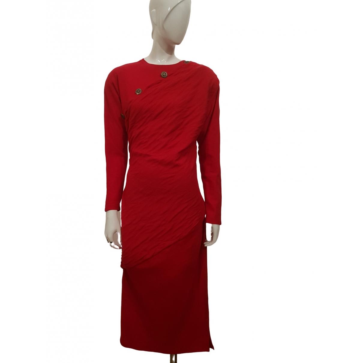 Gianni Versace \N Kleid in  Rot Wolle