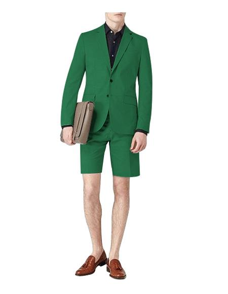 Suit Single Breasted Green Notch Lapel