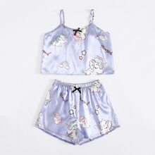 Girls Satin Unicorn And Letter Graphic PJ Set