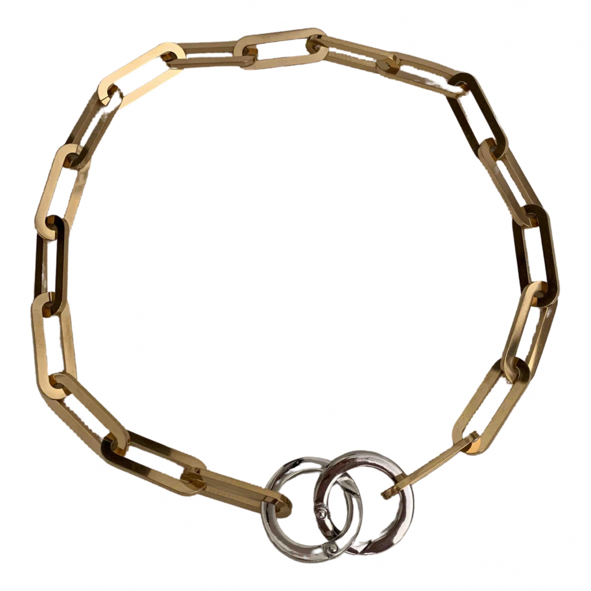 Non Signe / Unsigned  Maille Americaine Kette in  Gold Stahl