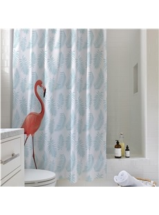 Tropical Plants and Flamingo Pattern PEVA Waterproof and Eco-Friendly Shower Curtain