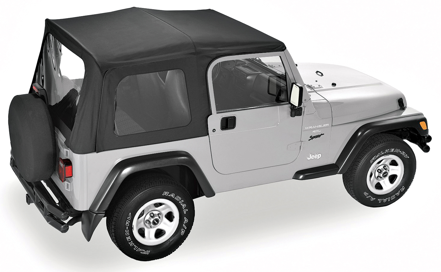 Pavement Ends 51130-15 By Bestop Black Denim Replay OEM Replacement Soft Top Clear Windows Jeep Wrangler 1988-1995