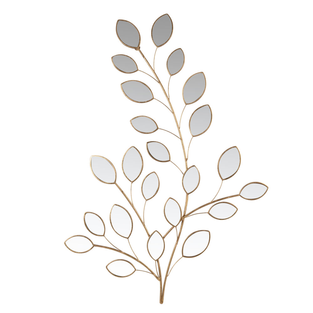 Wanddeko Zweig aus goldfarbenem Metall und Spiegelelementen 65x85