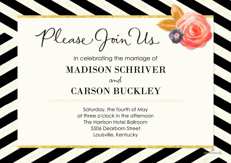 Wedding Invitations 5x7 Cards, Premium Cardstock 120lb, Card & Stationery -Chic Elegance Wedding Invitation