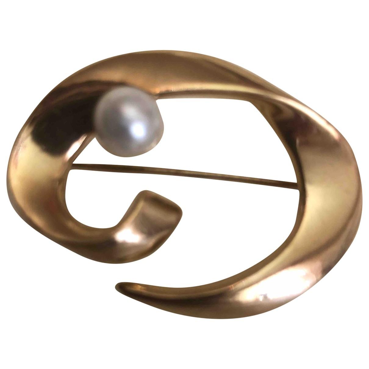 - Broche Nacre pour femme en plaque or - dore