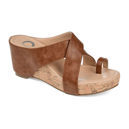 Journee Collection Womens Rayna Wedge Sandals, 6 1/2 Medium, Brown