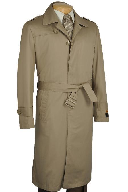 Khaki Single Breasted Trench Coat