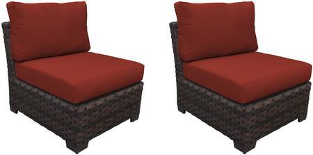 KI043b-AS-DB-TERRACOTTA Kathy Ireland Homes and Gardens River Brook Armless Chair 2 Per Box - 1 Set of Truffle and 1 Set of Cinnamon