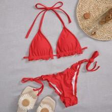 Bañador bikini con cordon lateral triangulo ribete fruncido