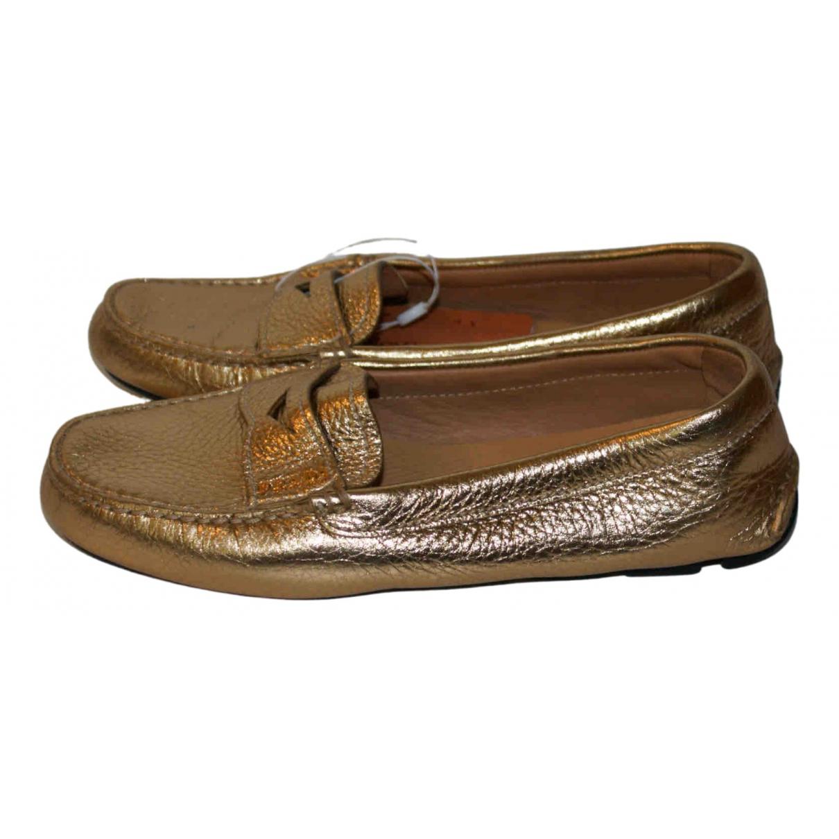Prada \N Gold Leather Flats for Women 35 EU