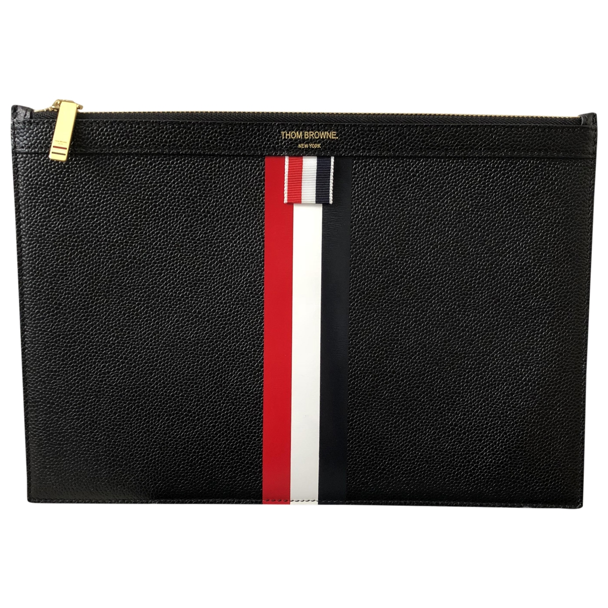 Thom Browne \N Black Leather Small bag, wallet & cases for Men \N