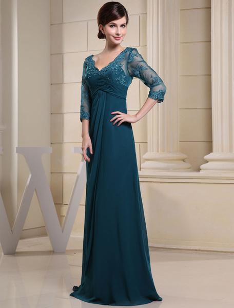 Milanoo Ink Blue Evening Dress Lace Applique Beading V Neck Half Sleeves A Line Wedding Party Dress