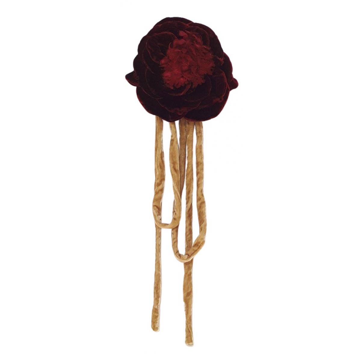 - Broche Motifs Floraux pour femme en toile - bordeaux