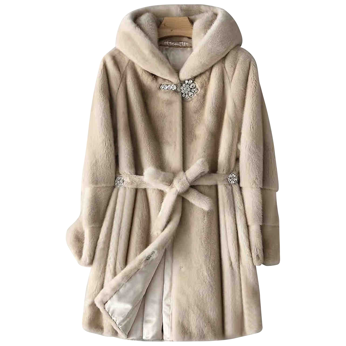 Non Signé / Unsigned \N Beige Mink coat for Women 36 FR