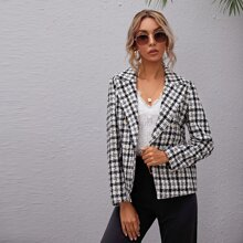 Double Breasted Plaid Tweed Blazer