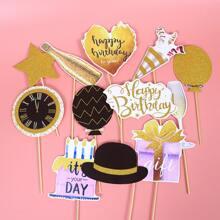 12 piezas apoyo de foto decorativo de cumpleaños