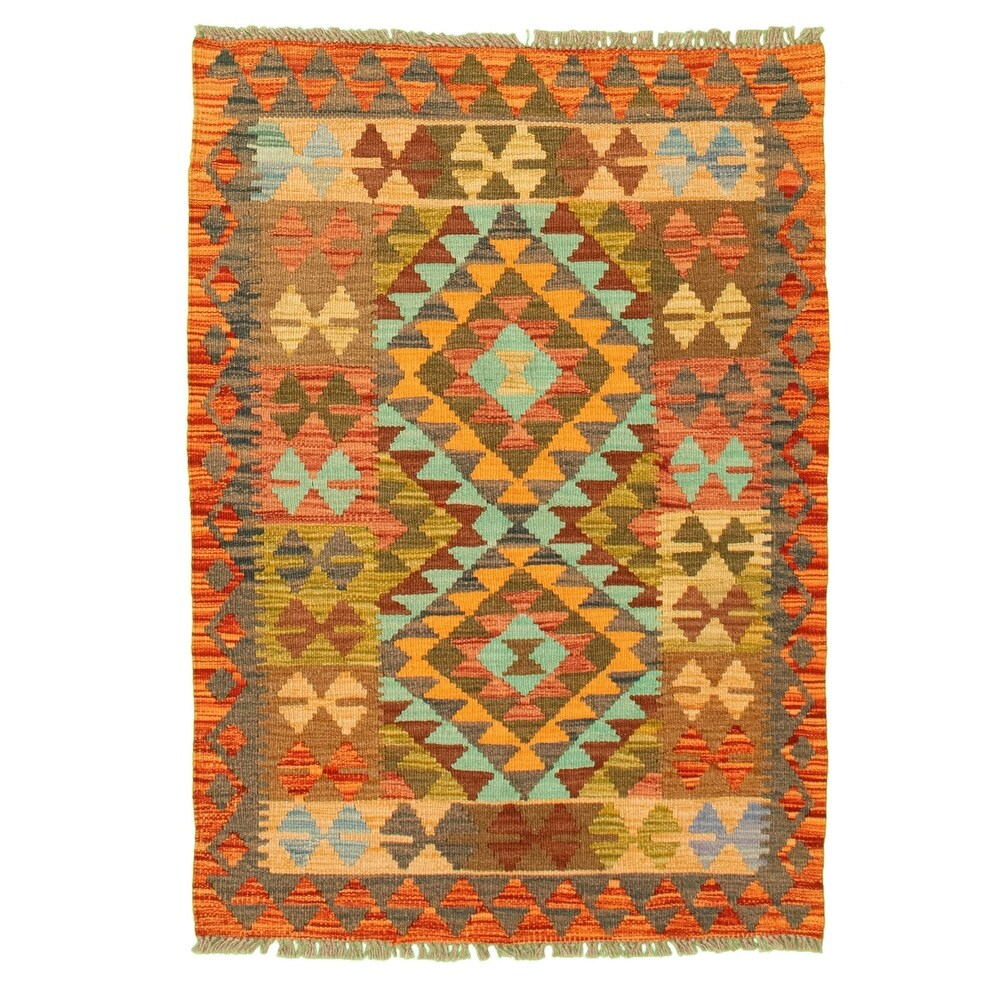 ECARPETGALLERY Flat-weave Bold and Colorful Red Wool Kilim - 2'8 x 3'9 (Red - 2'8 x 3'9)