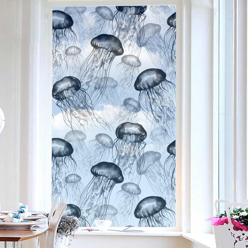 Modern Style Jellyfish Painted Window Film No-glue Glass Static Sticker