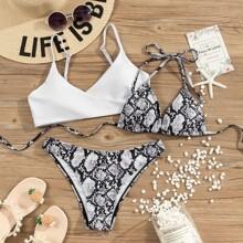 3pack Snakeskin Triangle Halter Bikini Swimsuit