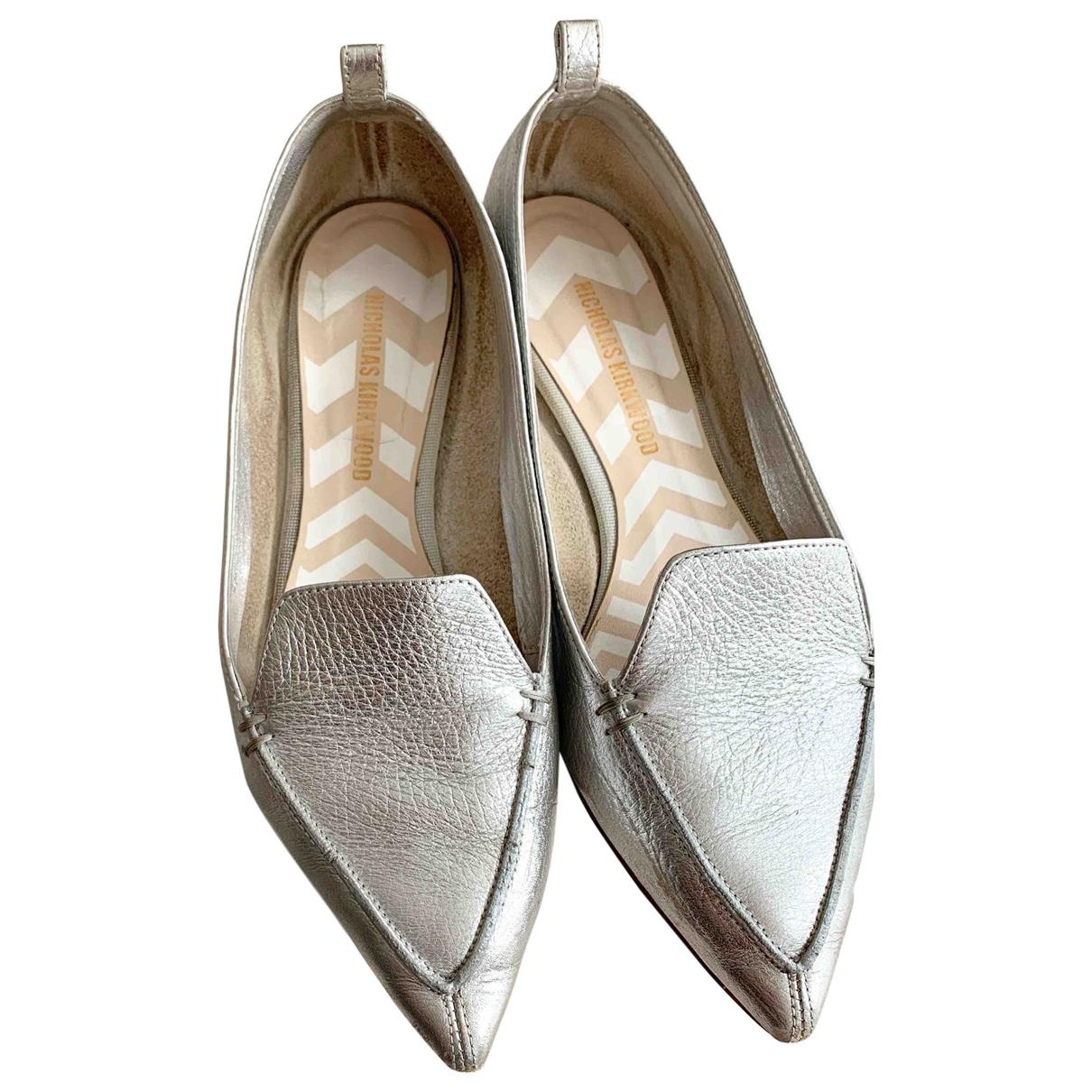 Nicholas Kirkwood \N Silver Leather Flats for Women 38.5 EU