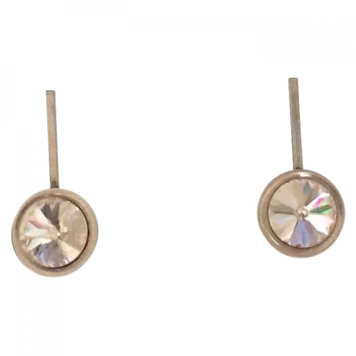 Non Signé / Unsigned Puces en diamants Grey Silver Earrings for Women \N