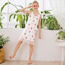 Girls Watermelon & Flamingo Print Contrast Mesh Ruffle Trim  Night Dress