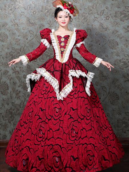Milanoo Disfraz Halloween Traje retro rojo Encaje Traje de Maria Antonieta Vestido con estampado de rosas Estilo rococo Traje del siglo XVIII Hallowee