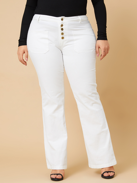 Yoins Plus Size White Button Design Jeans