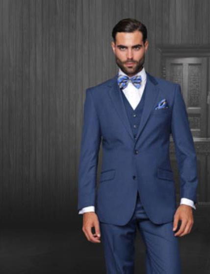 Statement Men's Indigo Blue 2 Button Modern Fit Wool Suit