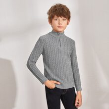 Boys Zipper Half Placket Cable Knit Sweater