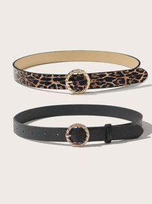 2pcs Leopard Print Buckle Belt