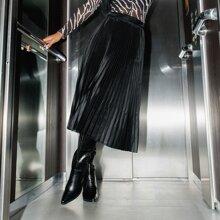 Faldas Cremallera Liso Elegante