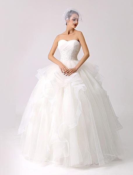 Milanoo Vestido de novia con escote palabra de honor y pedreria