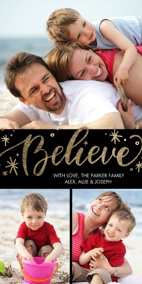 Christmas Photo Cards Flat Glossy Photo Paper Cards with Envelopes, 4x8, Card & Stationery -Christmas Believe Script by Tumbalina