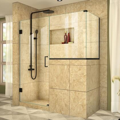 SHEN-2429303436-09 Unidoor Plus 59 W X 36 3/8 D X 72 H Frameless Hinged Shower Enclosure  Clear Glass  In Satin