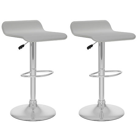 Corliving 2-Pc. Curved Seat Adjustable Barstools, One Size , Black