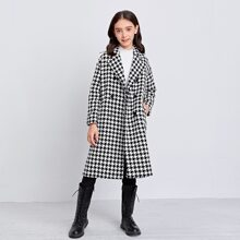 Girls Houndstooth Double Breasted Belted Pea Coat