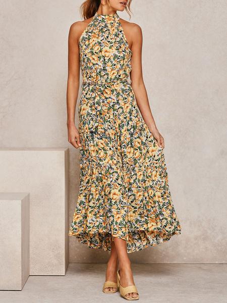 Milanoo Vestido de verano Cuello joya naranja con cordones Vestido de playa de poliester estampado
