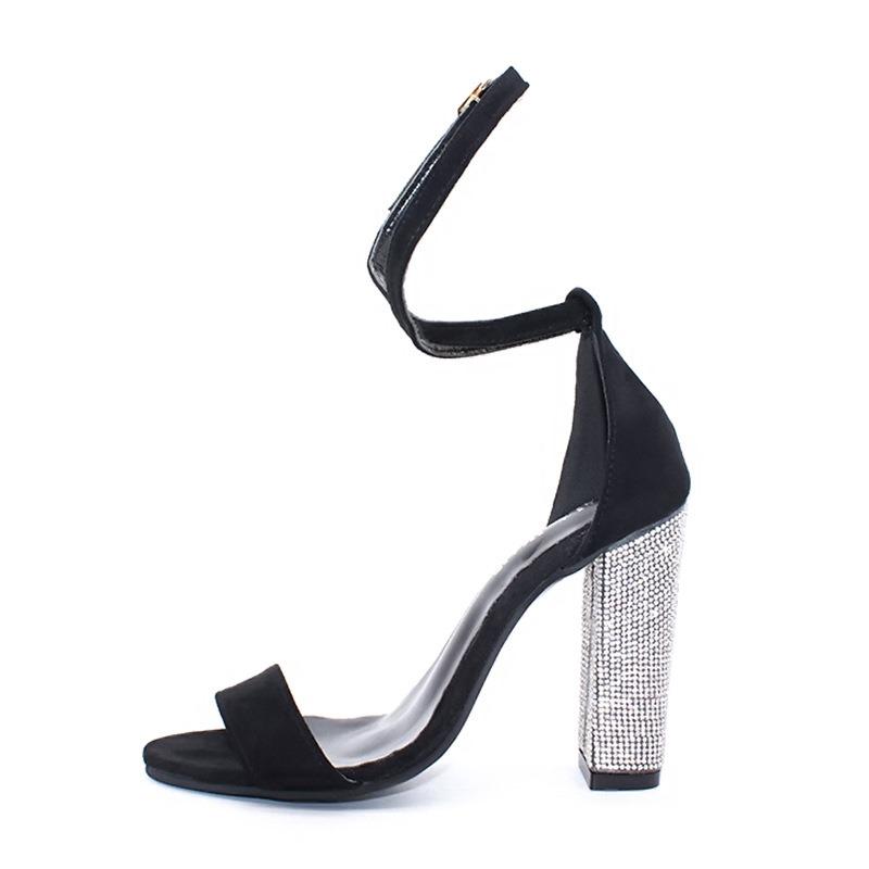 Ericdress Rhinestone Line-Style Buckle Chunky Heel Women's Sandals