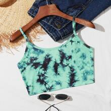 Tie-Dye Wash Cropped Cami Top