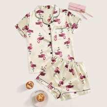 Satin Pajama Set mit Flamingo Muster