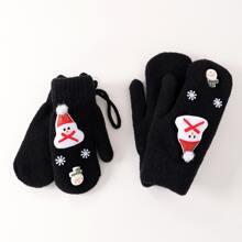 2 Paare Eltern-Kleinkind Kinder Handschuhe mit Weihnachten Schneemann Dekor