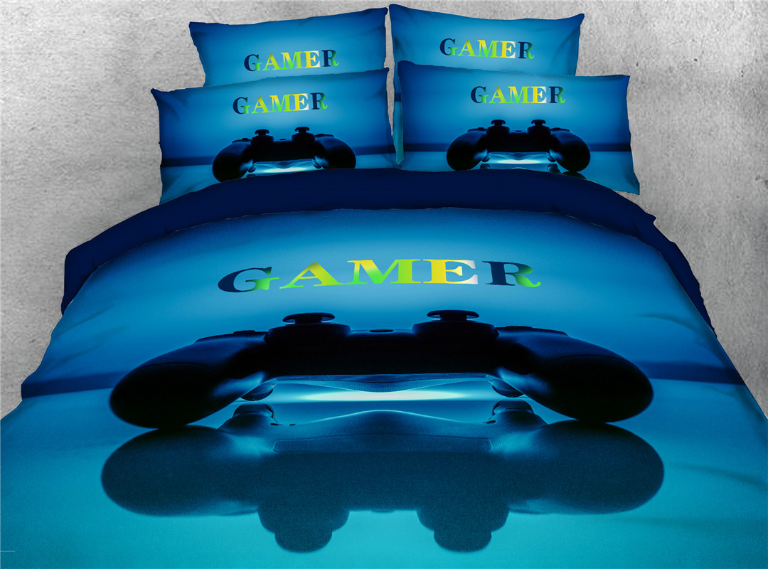 Game Hand Wash Duvet Cover Set Four-Piece Set Polyester Bedding Sets 2 Pillowcases