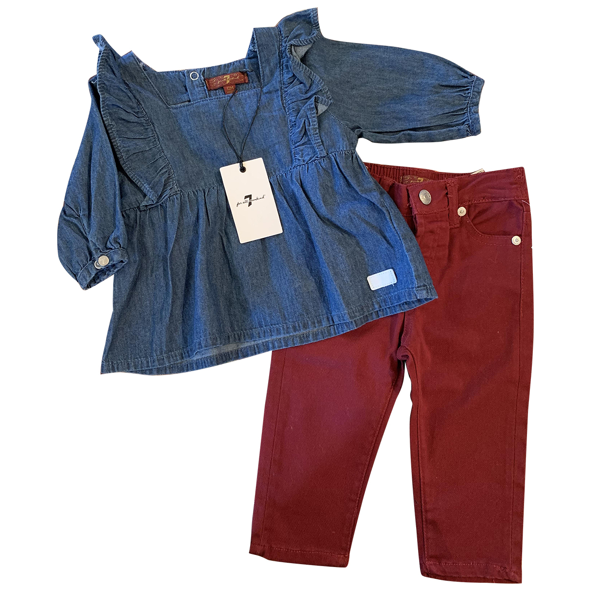 7 For All Mankind N Burgundy Cotton Outfits for Kids 12 months - up to 74cm FR