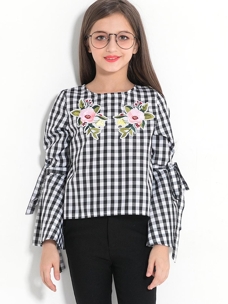 Ericdress Plaid Flower Print Round Neck Flare Sleeve Girl's T-Shirt