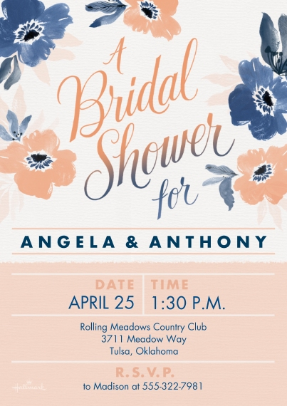 Wedding Shower Invitations 5x7 Cards, Premium Cardstock 120lb, Card & Stationery -Painted Floral Bridal Shower